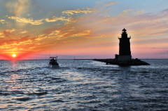 Barb Moulinier   Breakwater Light Sunset on the Delaware Bay